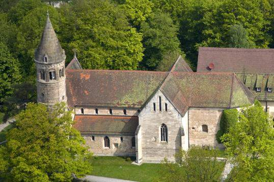 Aerial view of Lorch Monastery church