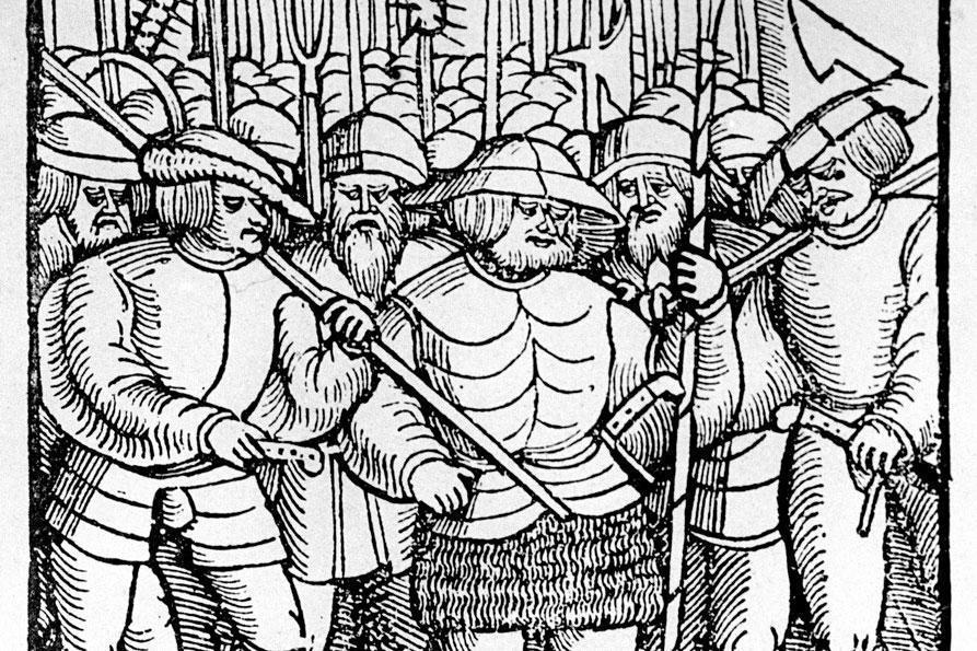 Armed peasants, period woodcut. Image: Landesmedienzentrum Baden-Württemberg, Robert Bothner