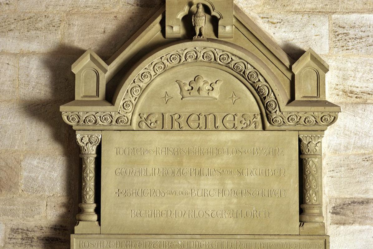Memorial plaque for Irene Angelina of Byzantium from 1898 on the interior wall of Lorch Monastery church. Image: Landesmedienzentrum Baden-Württemberg, Steffen Hauswirth