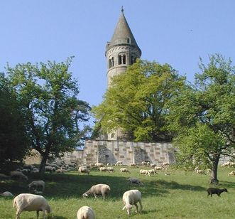 View of the Marsilius Tower in Lorch Monastery, with sheep pastures in the foreground. Image: Ulrich Rund