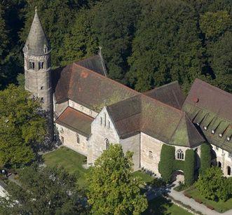 Aerial view of Lorch Monastery church. Image: Staatliche Schlösser und Gärten Baden-Württemberg, Achim Mende
