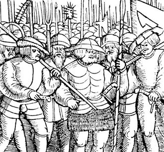 Armed peasants, woodcut from an early print from 1525. Image: Landesmedienzentrum Baden-Württemberg, Robert Bothner
