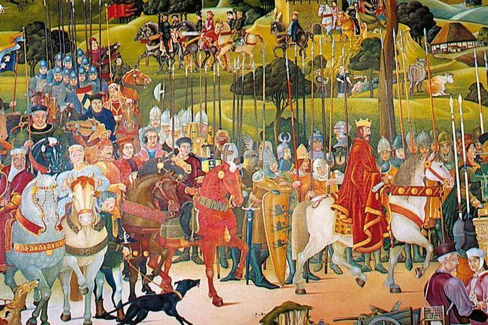 Detail of the mural of the House of Staufen, Lorch Monastery chapter house