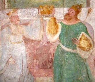 Image: King Konrad and Gertrud von Sulzbach, mural in the Lorch Monastery church