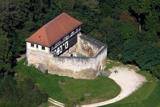 Luftaufnahme der Burg Wäscherschloss; Foto: Staatliche Schlösser und Gärten Baden-Württemberg, Achim Mende
