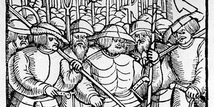 Armed peasants, period woodcut