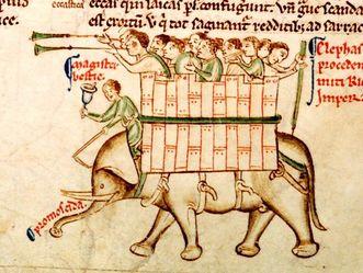 Elefant von Cremona, Chronica Maiora II von Matthaeus Parisiensis um 1250