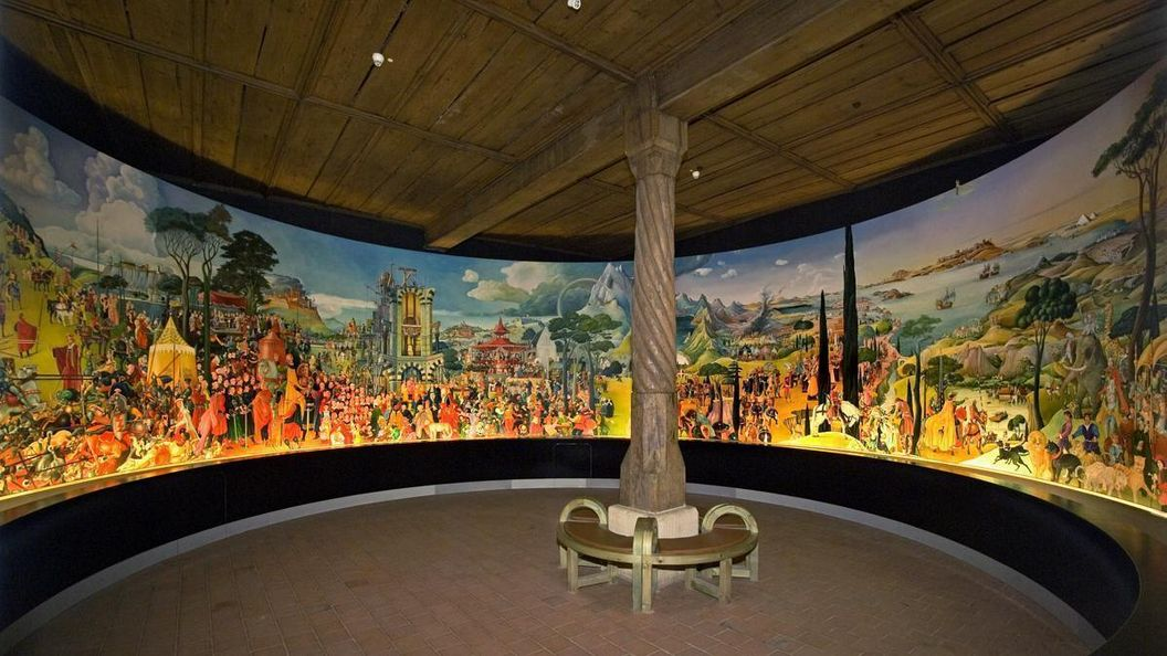 Image: View of the mural of the House of Staufen in the Lorch Monastery chapter house