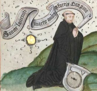 Laurentius Autenrieth, later the abbot of Lorch's Benedictine monastery, in the Graduale of Lorch, location: WLB Stuttgart Cod. mus. I fol. 65, page 218r. Image: Wikipedia, in the public domain