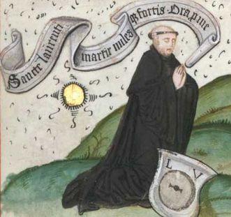 Laurentius Autenrieth, später Abt des Benediktinerklosters Lorch, im Lorcher Graduale, Standort: WLB Stuttgart Cod. mus. I fol. 65, Bl. 218r