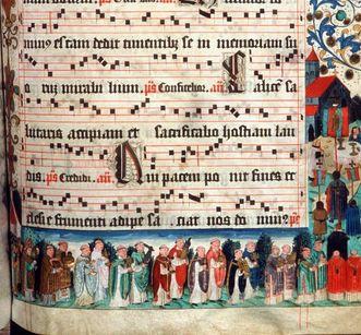 Kreuzprozession an Fronleichnam, illustriertes Notenblatt aus dem Lorcher Chorbuch