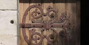 Door with iron fittings at Lorch Monastery