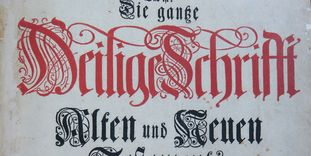 """Detail of the title page of the printed """"Pfaff Bible."""" Image: M. Ernst Wahl"""