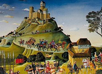 Image: Mural of the House of Staufen in the Lorch Monastery chapter house, detail of Hohenstaufen and Wäscherschloss Castle