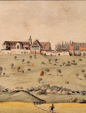 Image: Lorch Monastery from the south, pen and ink drawing with watercolor, Johan Sebald Baumeister, 1804