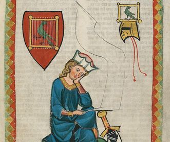 Walther von der Vogelweide, depiction from the Great Heidelberg Collection of Ballads (Codex Manesse), circa 1300. Image: Heidelberg University Library