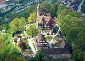 Aerial view of Lorch Monastery. Image: Staatliche Schlösser und Gärten Baden-Württemberg, Achim Mende