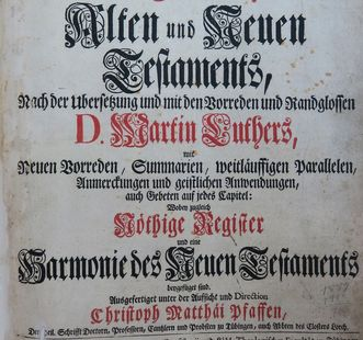 "Detail of the title page of the printed ""Pfaff Bible."" Image: M. Ernst Wahl"