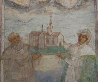 Benefactors Duke Friedrich of Swabia and Agnes von Waiblingen, mural in Lorch Monastery church. Image: Ulrich Rund