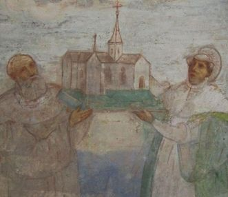 Image: Benefactors Duke Friedrich of Swabia and Agnes von Waiblingen, mural in Lorch Monastery church