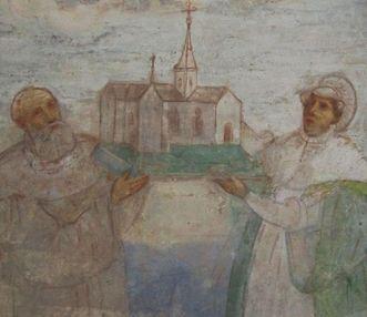 Stifterbild mit Herzog Friedrich von Schwaben und Agnes von Waiblingen, Wandbild in der Lorcher Klosterkirche
