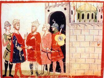 Friedrich II. und Sultan al-Kamil, Nuova Cronica von Giovanni Villani, 14. Jahrhundert