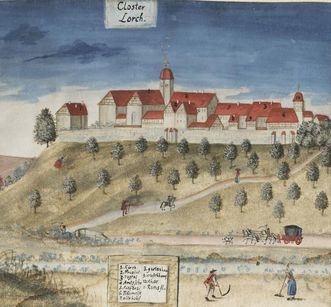 View of Lorch Monastery from the valley, watercolor. Image: Stadtarchiv Lorch