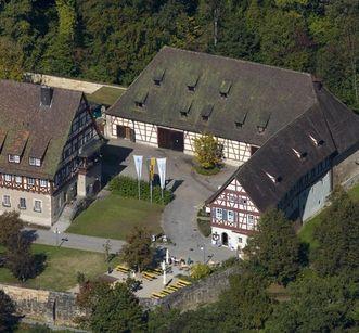 Aerial view of outbuildings at Lorch Monastery. Image: Staatliche Schlösser und Gärten Baden-Württemberg, Achim Mende